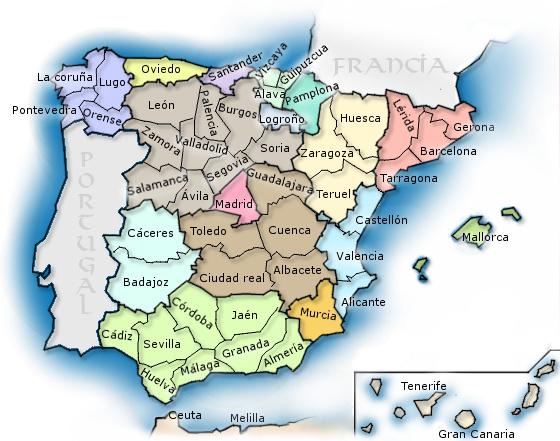 mapa ciudades espana